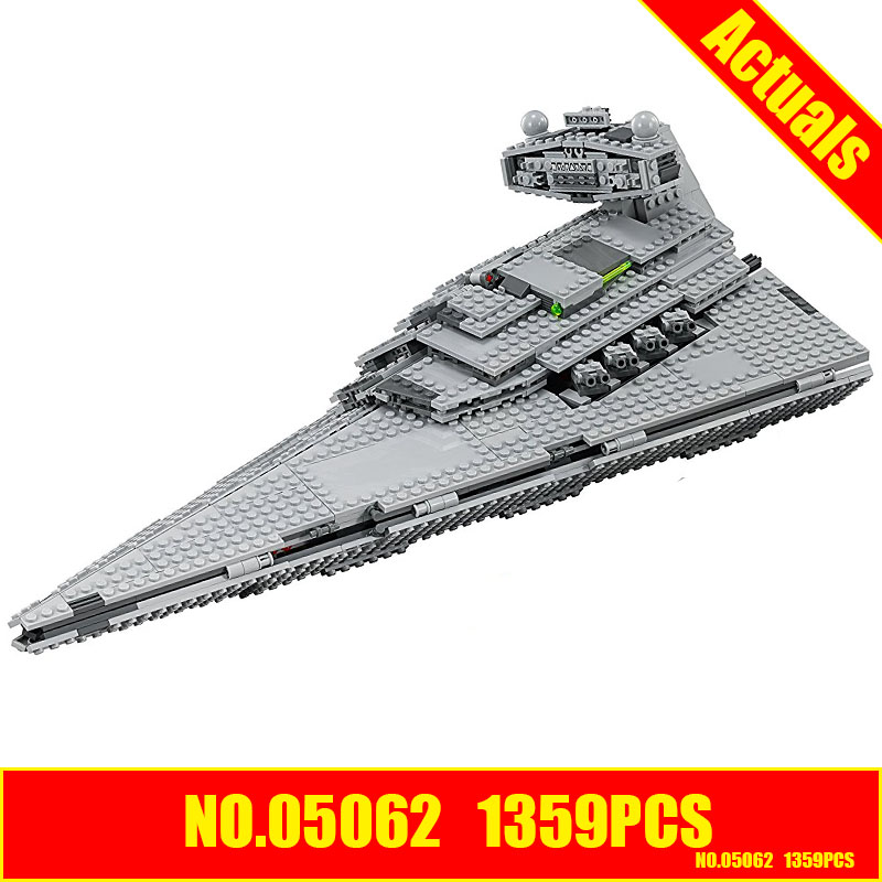 Lepin 05062 Star 1359pcs Wars Genuine Series Star Self-locking Destroyer Set 75055 Building Blocks Bricks DIY Educational Toys lepin 05028 3208pcs star wars building blocks imperial star destroyer model action bricks toys compatible legoed 75055
