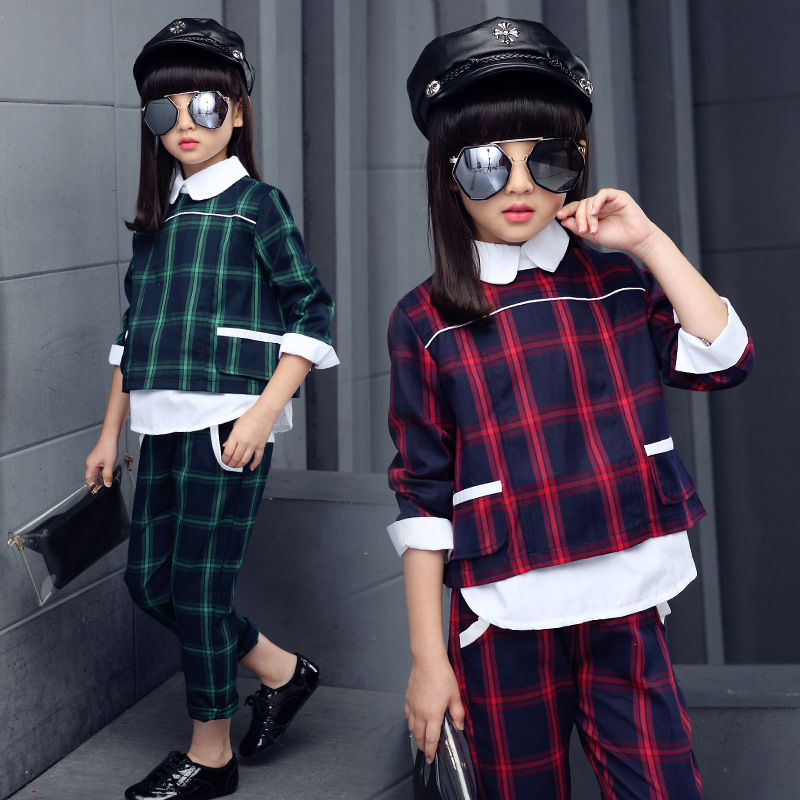 5 6 7 8 9 10 11 12 13 14 Years Autumn Girls Clothes Sets Back to School Uniform Costume 2018 Plaid Blouses + Pants Clothing Sets цены