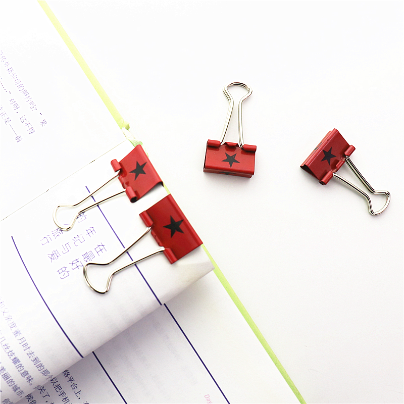 12pcs Colorful Metal Binder Clips Star Paper Clip 38mm Office Learning Supplies Color Random H0062