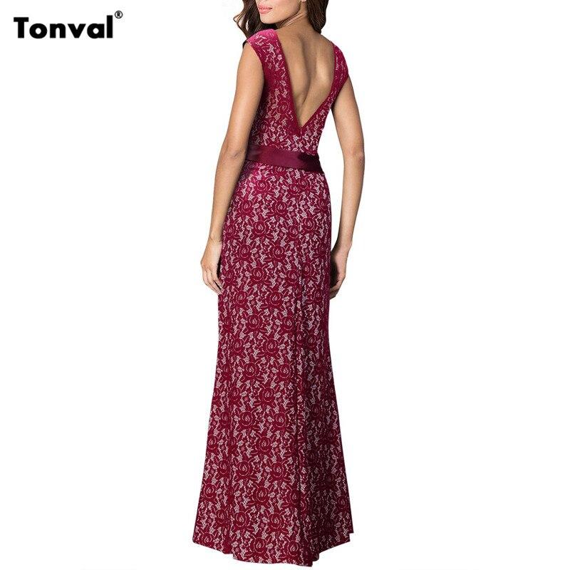 Tonval Lace Maxi Dress with Belt Women Backless Elegant Summer Sexy Evening Party Dress Vintage Vestidos Long Dresses