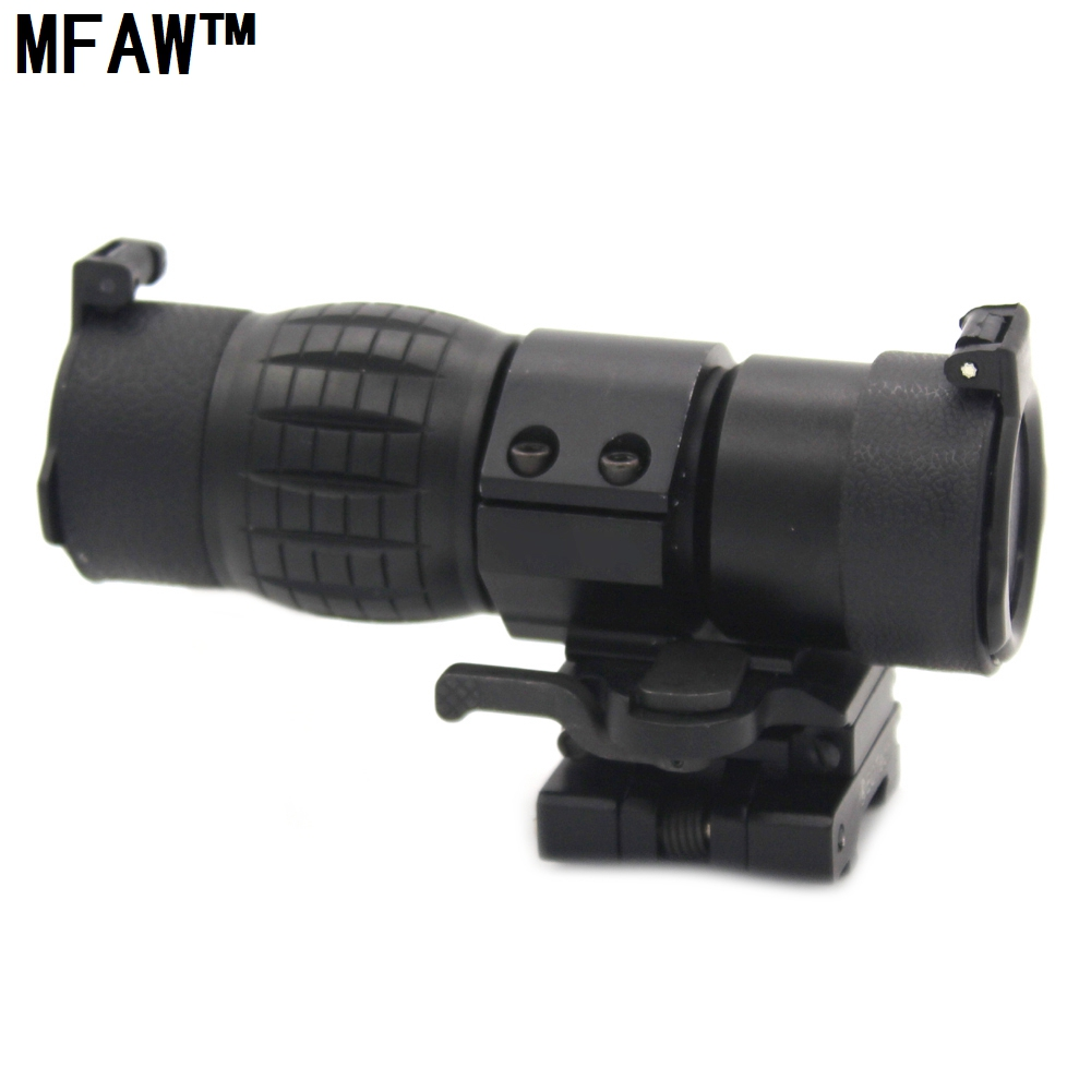 все цены на Hunting QD 3X Magnifier Scope Sight Quick Release With 20mm Flip To Side Mounts Fits For Red Dot 551 552 Airsoft With Covers онлайн