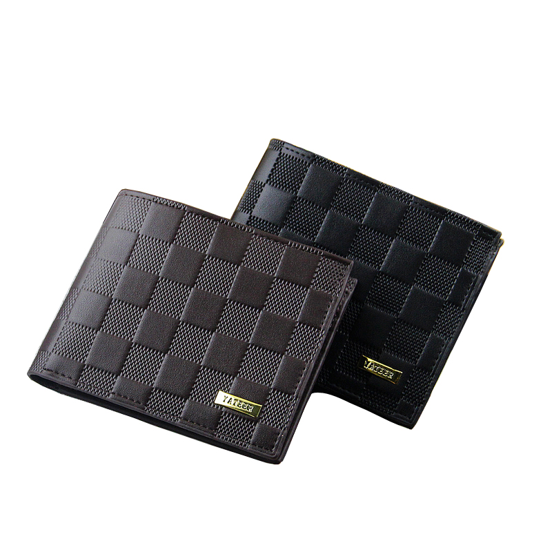 Hot Fashion Men Wallets Geometric Plaid Pattern Design Short Style PU Leather Black Brown Card Holder Purse Wallet Free shipping