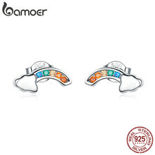 где купить BAMOER 2019 New Authentic 925 Sterling Silver Colorful Rainbow and Cloud Stud Earrings for Women Korean Ear Jewelry SCE500 по лучшей цене