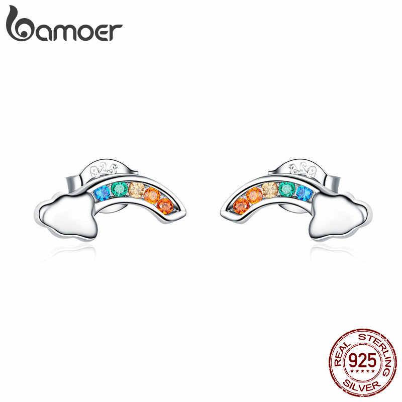 BAMOER MẠ 2019 Mới Thật Nữ Bạc 925 Nhiều Màu Sắc Cầu Vồng và Đám Mây Bông Tai Nữ Hàn Quốc Tai Trang Sức SCE500
