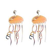 Boucles d'oreilles transparentes, créatives, amusantes, avec pompon, en forme de méduse