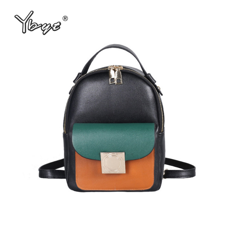 YBYT brand 2017 new fashion casual panelled preppy style women shoulder bags hotsale ladies mini kawaii student school backpacks new brand designer women fashion backpacks simple koran style school for teenager girls ladies shoulder bags black