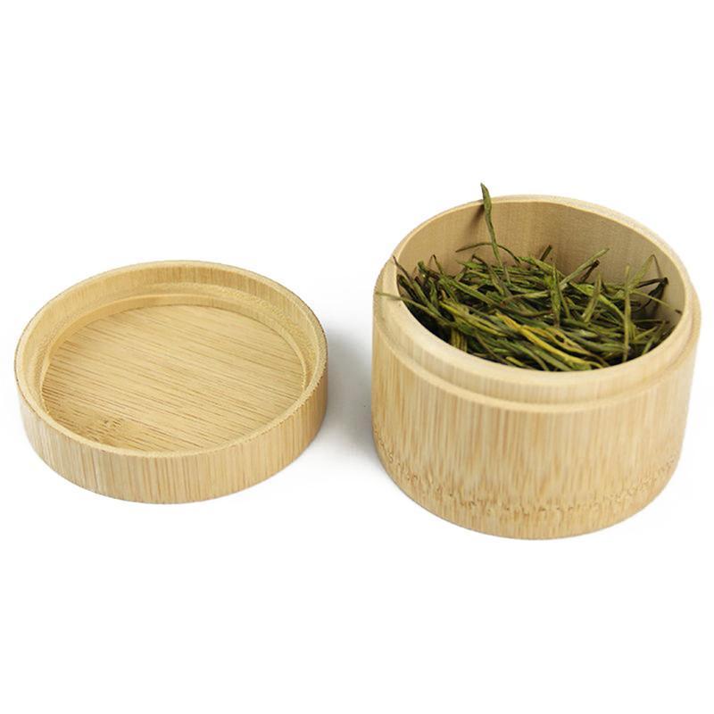 Mini Round Bamboo Tea Box Maccha Storage Box Canister Column Tea Jar Caddy Storage Case Handmade Organizer
