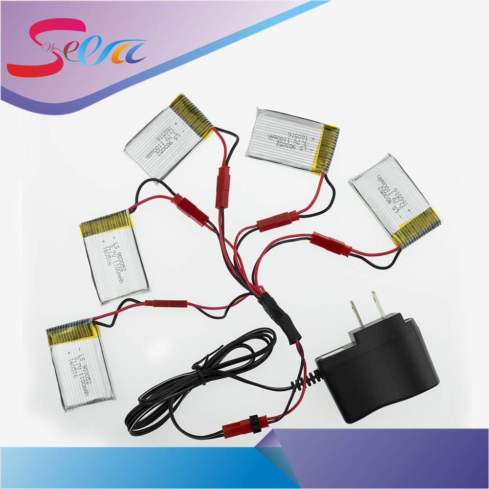 3.7V 1100mAh Li-po battery for JJRC H11WH H11D H11C HQ898 Quadcopter Drone rc 5pcs with wall charger and 5 in 1 cable 5pcs jjrc h11d h11c hq898 quadcopter drone rc lipo battery 3 7v 1100mah and charger plug cable