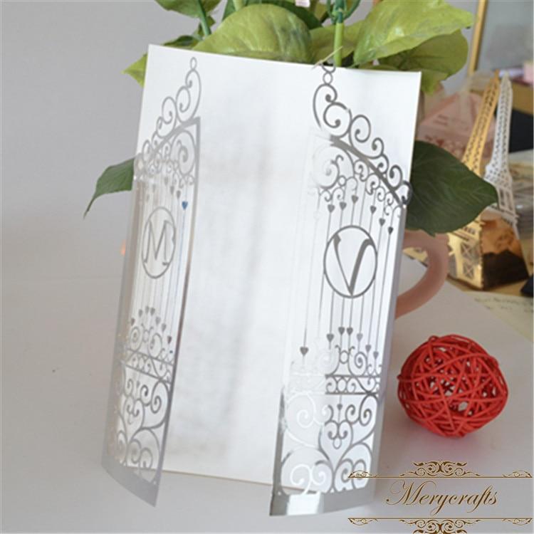 Wedding invitations customized initials laser cut gorgeous gate ...