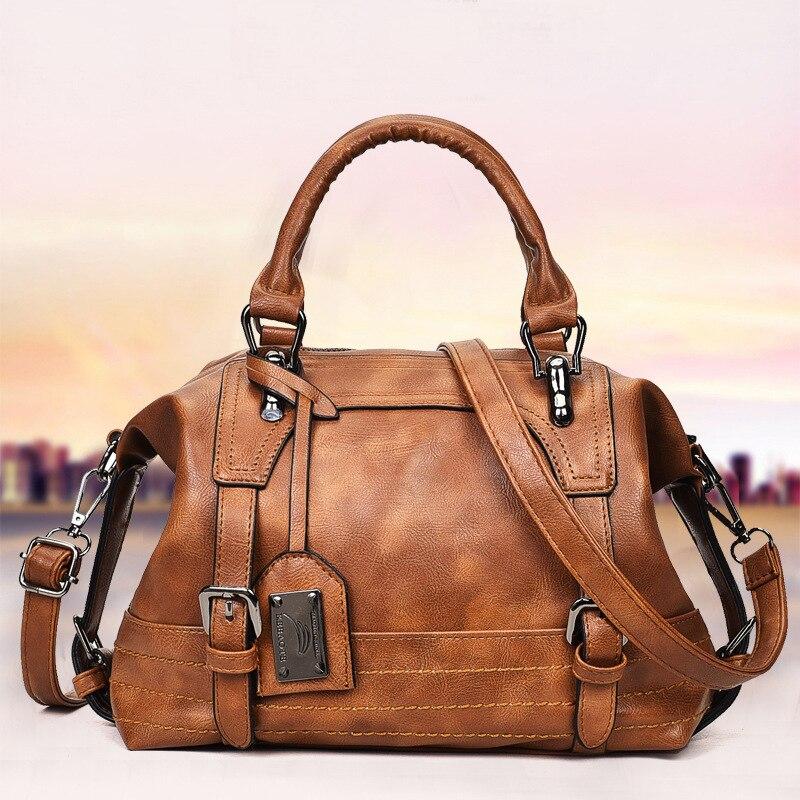 7a0a8655b Amberler mujer bolsos Vintage bolso de hombro de cuero suave de la PU bolsos  de las mujeres Crossbody de la manera para las señoras Boston bolsas