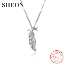 SHEON High Quality 100% 925 Sterling Silver Cute Beans Dazzling Crystal Pendant Necklace for Women Jewelry