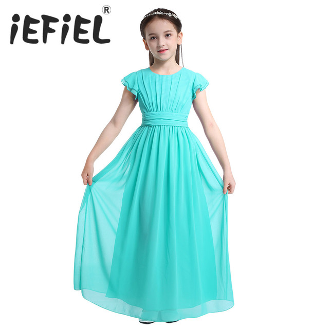 iEFiEL Sleeveless Kids Teenage Flower Girl Dress Floor Length Pageant Wedding Party Formal Occassion Wedding Girls Tulle Dress