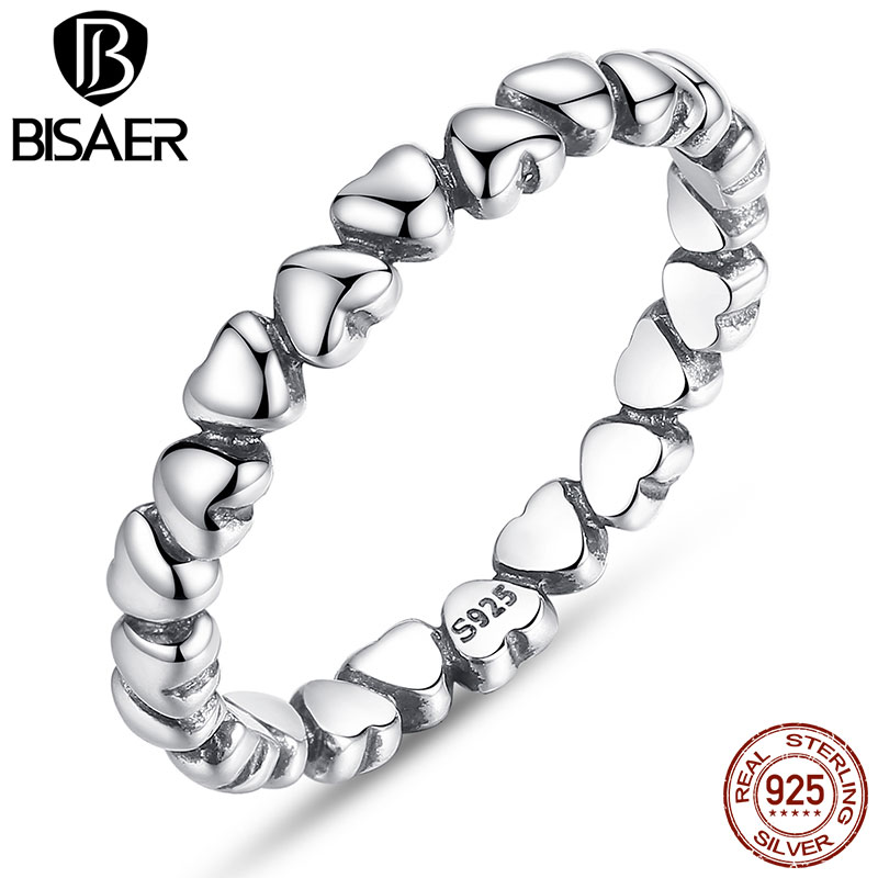 BISAER Authentic 925 100% Solid Sterling Silver Forever Love Heart Finger Ring for Women Original Anniversary Jewelry HJ7108