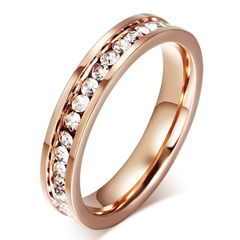 Fashion Cute Women\'s Ring Rose Gold Zinconia & CZ 4.0mm Width ...