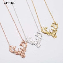 WFSVER charms jewelry animal antlers stainless steel pendant necklace women gold silver rose color