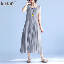0979639f9c80e Loose Women s Summer Dresses Fashion 2018 Solid Casual Pleated Long dress  Sleeveless Grey Red Plus Size Women Dress with Pocket