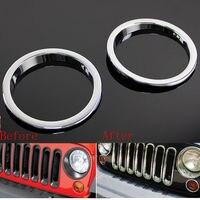 Pair Chrome ABS Turn Signal Light Lamp Cover Ring Trim For Wrangler JK 07 15