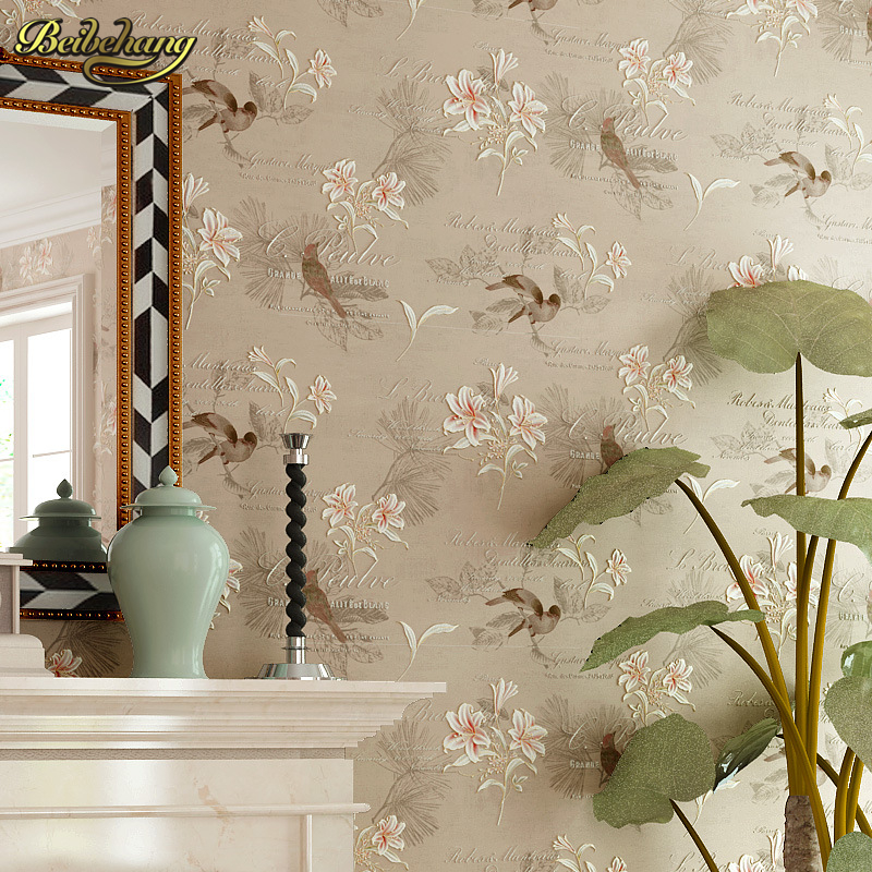 beibehang American Country Flowers Wallpaper Roll Floral Non-woven 3D Wall Paper Bedroom Wallpapers Birds Wall paper Decals roll 2015 new brand 5m roll victorian country style for floral flowers background wallpaper