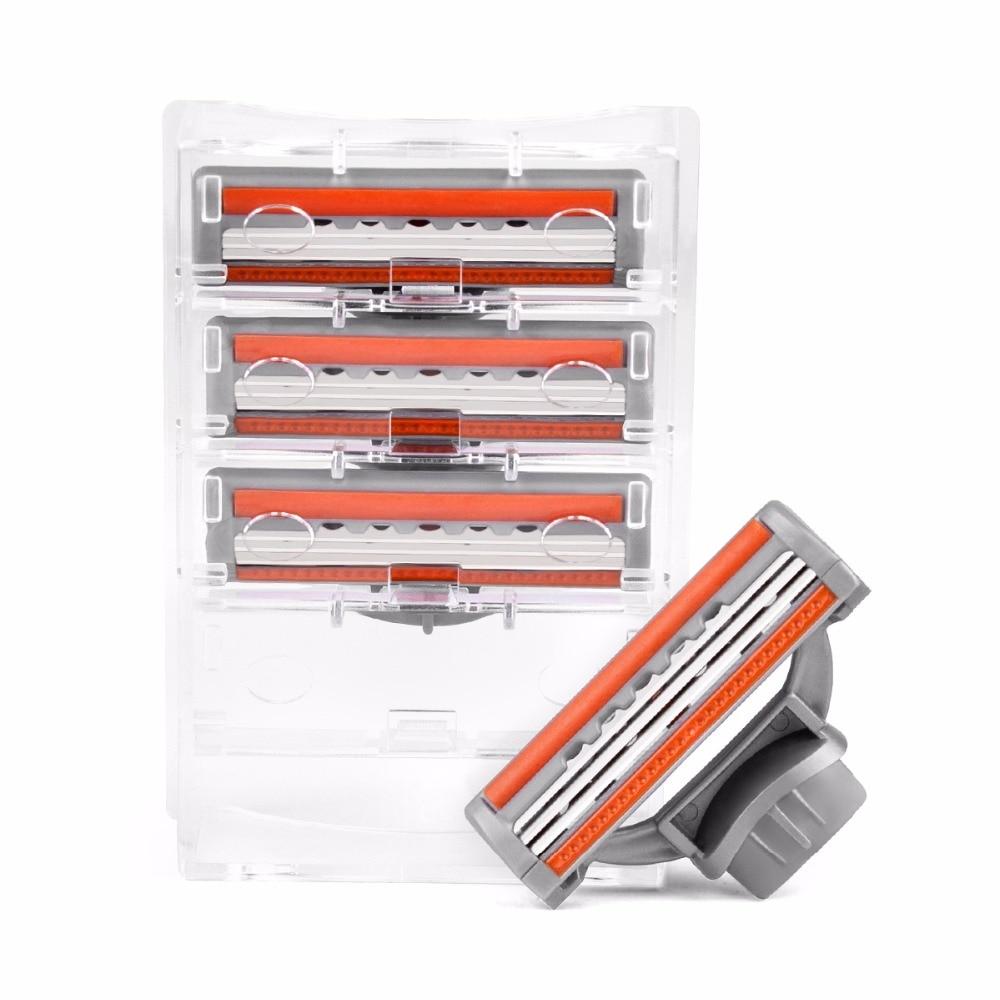 QShave Galaxy Blue Men Manual Shaving Razor Blade Refill Orange Color X3 Blade Y, 4 Cartridges (Only Blades No Handle)