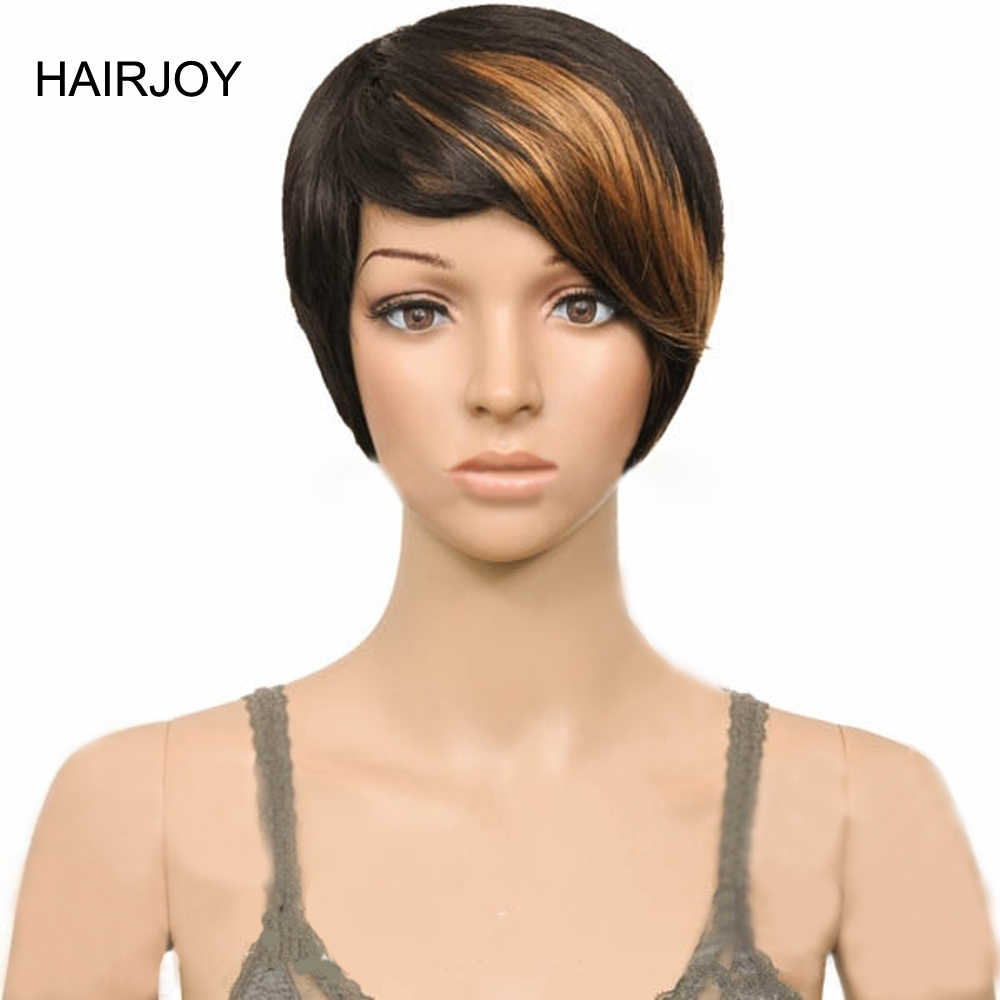 Hairjoy Blonde Brown Mix Black  Short Straight  Cosplay Party  Wig Woman Synthetic Hair Free Shipping