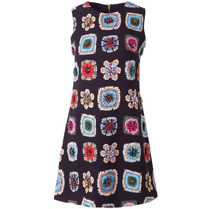 Czerwony RoosaRosee 2019 projektant lato kwiatowy Print diamenty kobiety kamizelka czarny sukienki Vestidos szata Femme w stylu Vintage Mini sukienka na imprezę w Suknie od Odzież damska na  Grupa 1