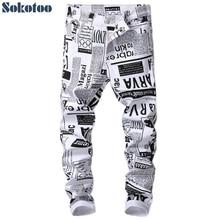 Printed Jeans Pans Paper Sokotoo Black White Men's Fashion Denim Slim-Fit Stretch