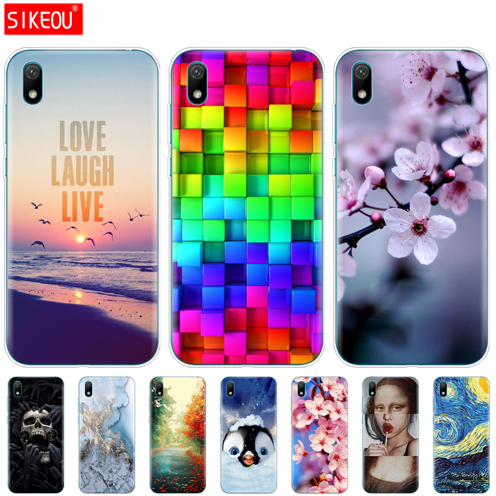 For Huawei Y5 2019 Case Bumper Silicone TPU Back Cover Soft Phone Case For Huawei Y5 2019  Coque Bumper 5.71 Inch Cat Flower