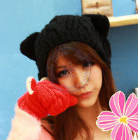 Cat Ear Knited Hat Beanies Cap Autumn Spring Winter Fashion Girl Lady S Multi Color Wholesale