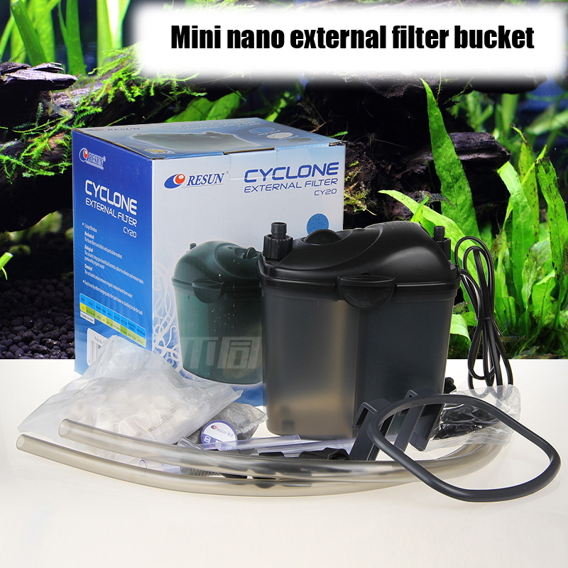 External filter bucket mini nano resun cy20 water plant for Outdoor fish tank filter