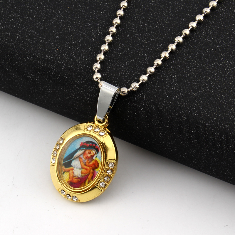 GEOMEE 1Pcs Gold Color Virgin Mary Mother Baby Neckalce Jesus Christ Christian Jewelry Oil Paintings Photo Pendant Necklaces