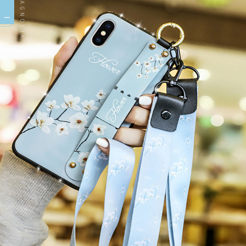 Fashion Floral Wrist Strap Phone Case For iPhone XR with Lanyard Neck Cover Protective shell