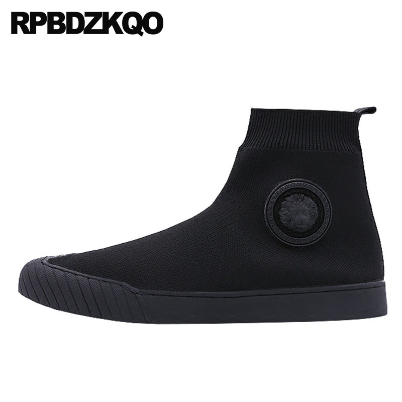 Boots autumn comfortable trainer high top sock black booties short fall runway men slip on casual shoes designer sneakers 2018