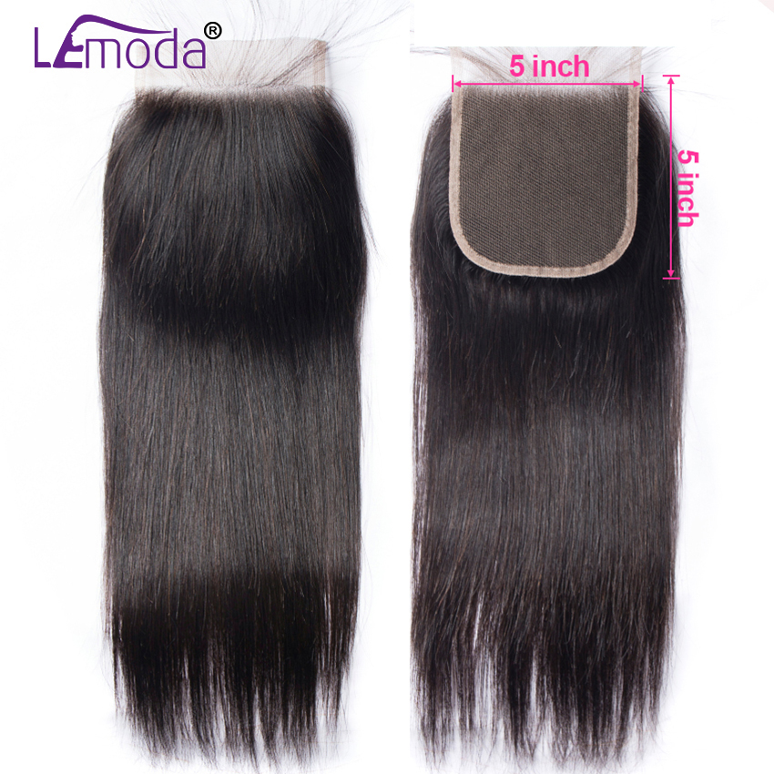 5X5 Lace Closure Brazilian Straight Human Hair Closure With Baby Hair Free Three Middle Part Swiss Lace Closure Remy Lemoda Hair