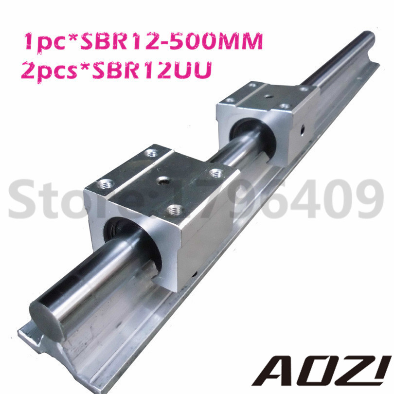 Free Shipping 1pcs SBR12 500mm Linear Bearing Rails + 2pcs SBR12UU Linear Motion Bearing Blocks (can be cut any length)