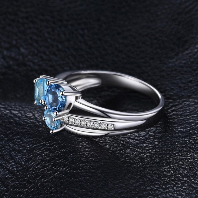 JewelryPalace 1.7ct Genuine Multi London Blue Topaz 3 Stones Ring Genuine 925 Sterling Silver Jewelry For Women Fine Party Gift