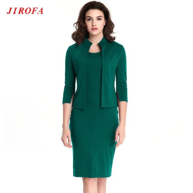 Woman Office Dress Green 3xl Size Two Piece Autumn 2017 Long Sleeve Pencil Dresses