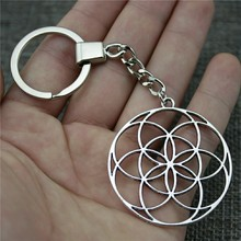 New Vintage Keychain Antique Silver Color 48x44mm The Flower Of Life, Seed Life Pendant Key Chain Ring Holder