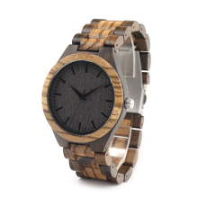BOBO BIRD D30 Men's Walnut and Ebony Wooden Watch with All Wood Strap Quartz Analog with Quality Miyota Movement
