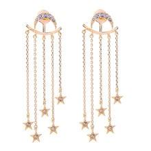 Exquisite earrings Fashion jewelry earring Long star pendant female moon alloy earrings wholesale цена