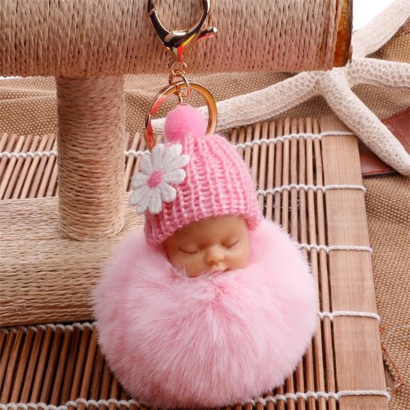 Pom Pom Keychain llaveros Sleutelhanger Women Bag Key Ring Chains Handbag Fluffy Artificial Rabbit Fur Baby Pompon Keychain Girl cat detail pom pom keychain