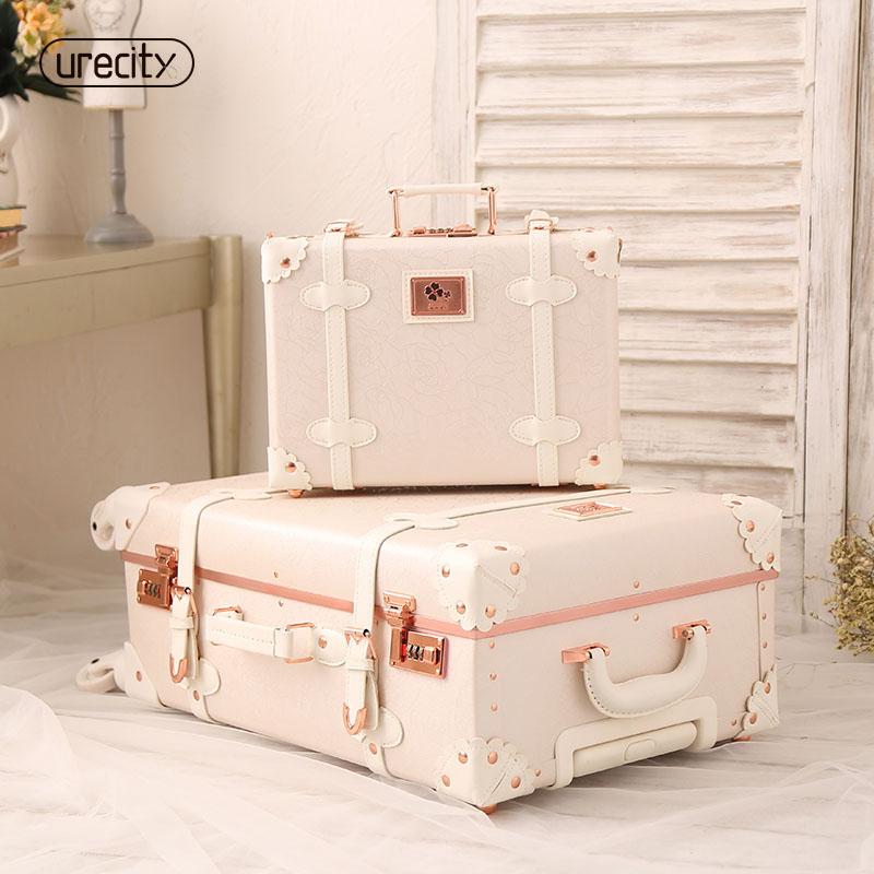 2018 new girl travel suitcase luggage pu genuine leather spinner rolling luggage leather luggage high quality free shipping vintage suitcase 20 26 pu leather travel suitcase scratch resistant rolling luggage bags suitcase with tsa lock