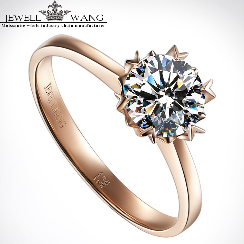 Jewellwang Moissanite Rings for Women Engagement 18K Rose Gold Ring Alps Snow 0.5ct Certified vvs1 Wedding yoursfs 18k white rose gold plated austria crystal rose engagement ring flower rings women jewelry xmas present