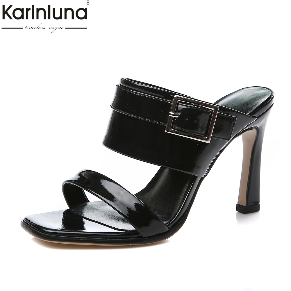 KarinLuna New Big Size 33-43 Brand Genuine Leather Woman Mules Pumps Sexy High Heels Sandals Party Sheepskin women's Shoes karinluna best quality crystals brand big size 34 43 sexy high heels summer sandals shoes women party woman shoes
