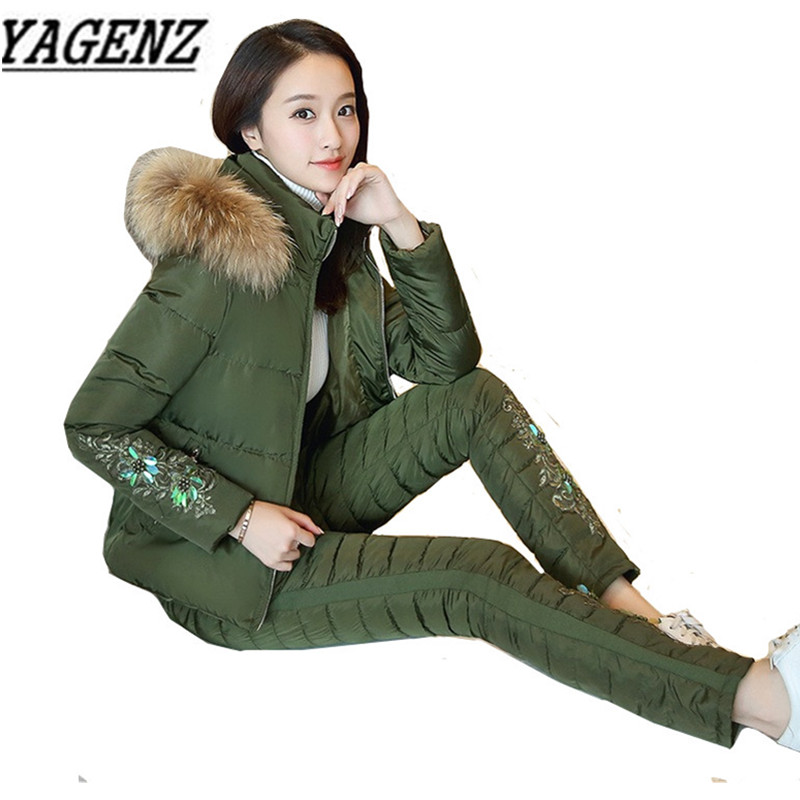 2019 Winter New Casual Women Down cotton Suit Sets Warm Thick Hooded Tops+Trousers 2 piece sets Ladies Winter Clothing Suits