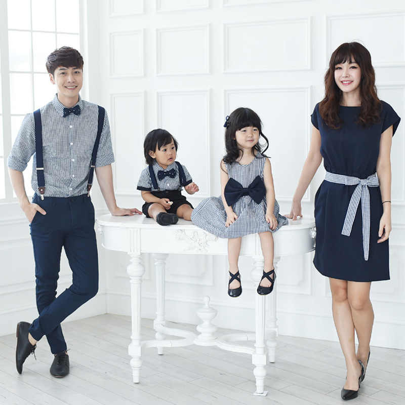 eafdec486c39 ... 2018 Summer Family Matching Outfits Mother Daughter Dress Clothing  Father Son Short Blouse Denim Overalls Jeans ...