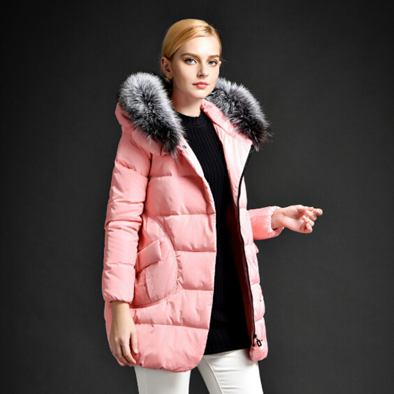 Winter Jacket Women Fox Fur Collar Hooded Winter Coat Women White Duck Down Jacket Parka Cloak Womens Jackets And Coats C1742