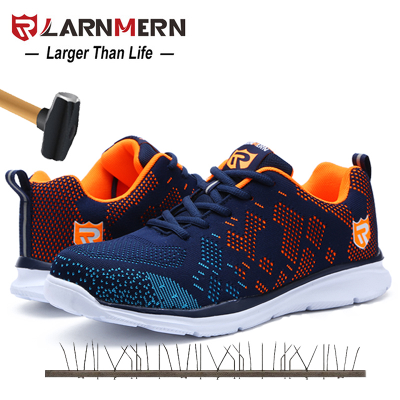 LARNMERN Men s Blue Work Safety Shoes Steel Toe Work Shoes For Men Anti smashing Construction