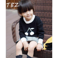 TBZ Baby Cherry Pattern Children Warm Tops Kids Boys Girls Long Sleeve Pullovers Sweater 100 Combed