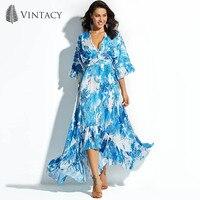 Vintacy Frauen Lange Maxi Kleid Print Floral Blau Pullover Strand Herbst Blume Falbala 2018 Moderne Mode Frauen Lange Maxi-kleid