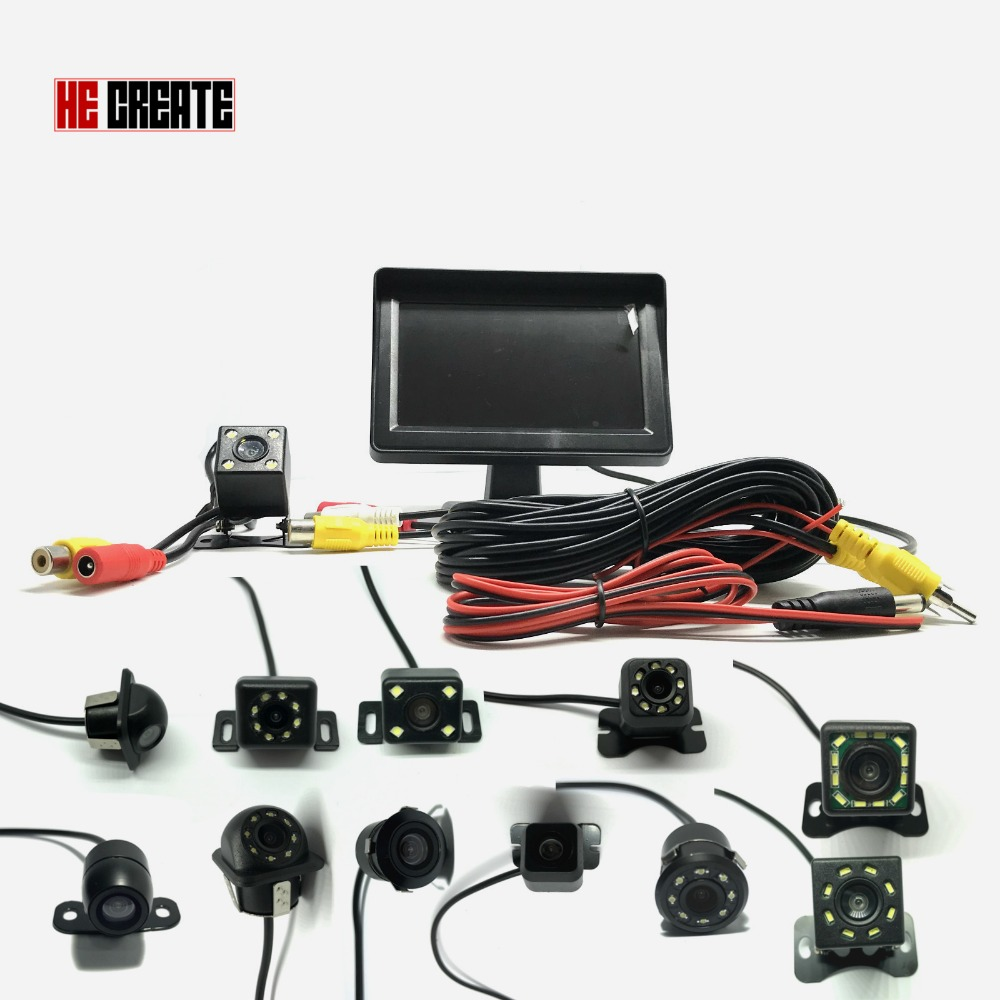 HE CREATE Waterproof 2In1 Car Parking Kit 4 3 TFT LCD Color Monitor System HD Screen